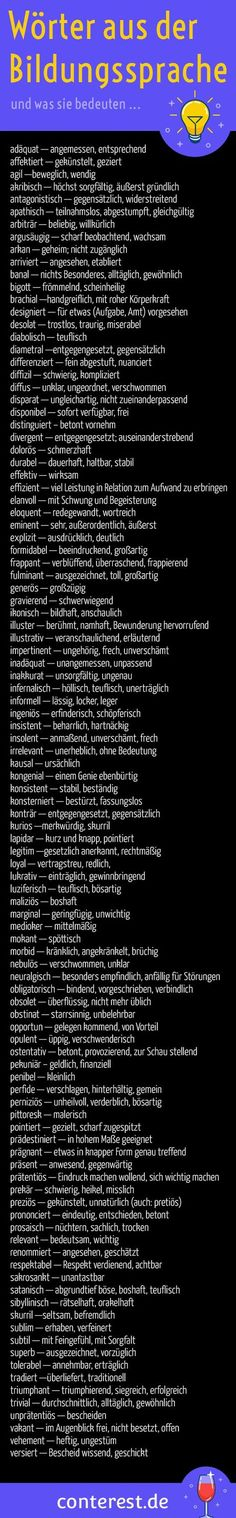125 adjectives from the educational language for wiser Adjektive aus der Bildungssprache für klügere Texte 99 words from the educational language and what they mean. For more exciting texts. German Language Learning, Maila, E Mc2, Learn German, Good To Know, Knowledge, Positivity, Hacks, Teaching