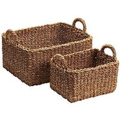 Seagrass Bins with Handles - two large baskets would fit side by side. $25 each.