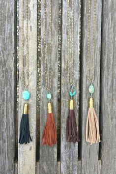 Bullet Leather and Turquoise Tassel Necklace / Tassel Necklace / Bullet Necklace / Leather Tassel / Western Necklace / Deerskin / Suede Bullet Casing Jewelry, Bullet Necklace, Boho Necklace, Bullet Casing Crafts, Bullet Crafts, Mermaid Necklace, Necklace Ideas, Pendant Necklace, Necklace Set
