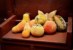Velvet Fruit Originally made as folly and pincushions, these velvet fruit and vegetables are a wonderful collectable individually or in groupings. Please click for detailed images. Our inventory rotates fairly quickly on these so please email or call for the latest information.