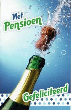 Feestelijke pensioenkaart met spetterende champagne Champagne, Paper Board