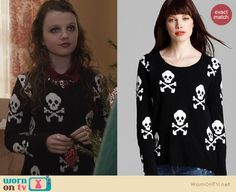 Dorrit's black skull sweater on The Carrie Diaries. Outfit Details: http://wornontv.net/24431 #TheCarrieDiaries #fashion