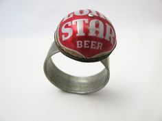 Lone Star Beer Ring by Christine Terrell, upcycled litho steel
