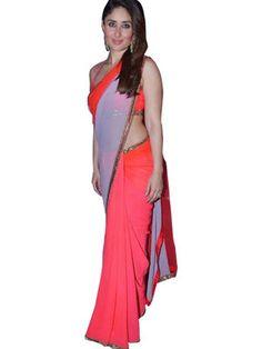 Kareena Kapoor Coral Georgette Saree At Nach Baliye 6 Bollywood Sarees Online on Shimply.com