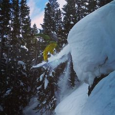 Marko takes the plunge today in Steamboat!  #snowboarding #backcountry #backcountryskiing #14erskiers