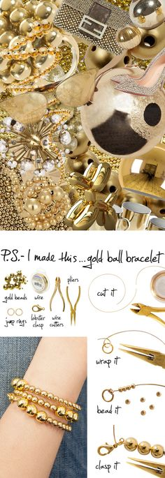 Gold Ball Bracelet - P.S. - I Made This...