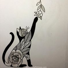 Rose cat tattoo design by Betty Rose- this would be a super cute wrist tattoo!