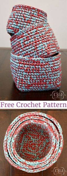 Multicolored Stacking Baskets - Colorful Christine - Crochet - Multicolored Stacking Baskets – Colorful Christine These baskets are so cute and stylish! Free crochet pattern for multicolored stacking baskets. Crochet Bowl, Crochet Basket Pattern, Knit Or Crochet, Crochet Stitches, Crochet Patterns, Crochet Baskets, Crotchet, Crochet Ideas, Knit Basket