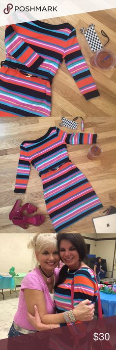 """Wear Joy Quality and style eludes this bold stipe sweater dress.  Full on fleek cut with pink, navy, orange, light blue, white, and a touch of green in 100% cotton. The rope style waist belt has a heavy gold clasp. Looks stunning on and off. Everyday, business, dressy, or casual you have choices! """"I don't design clothes, I design dreams"""" Ralph Loren. And so he has! Used and adored! Ralph Lauren Dresses"""