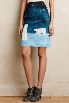 NIP Anthropologie Arctic Scene Twill Skirt by Maeve Sz 10 Polar Bears Print  #Anthropologie #TwillSkirt