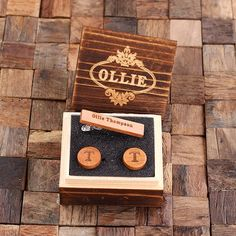 Personalized Men's Classic Round Wood Cuff Link and Wood Tie Clip with Box, Cherry Wood
