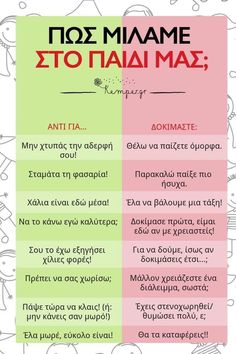 Parenting Advice, Kids And Parenting, Greek Quotes, Greek Sayings, Kids Corner, Kids Behavior, New Things To Learn, Infant Activities, Special Education