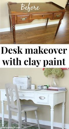 This is a great tutorial for painting an old desk with chalk paint! Smart, cheap idea instead of buying everything new for a home office.   Green With Decor
