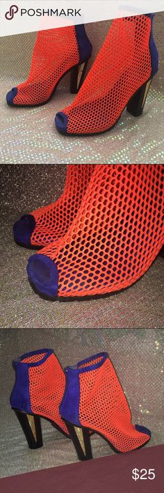 💥Neon Net Booties💥 Neon Orange And Royal Blue netted booties. Black wood heel with a touch of gold. These are such an eye catcher, definitely the statement piece. There is a scuff on the inside of the right heel and also a piece of the zipper pull broken, still able to pull the zipper up and down but should be aware. Note not nasty gal! Privilege shoes Nasty Gal Shoes Heels