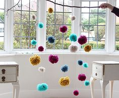 """No Craft Skills Required: Make a Big Impact With a Beautiful Pom-Pom Mobile+(via+<a+href=""""http://craft.tutsplus.com/tutorials/decorations/the-one-craft-that-doesnt-require-any-skills-but-makes-a-big-impact/"""">craft.tutsplus.com)"""