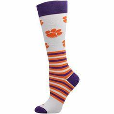 Clemson Tigers Womens Striped Logo Knee Socks - White
