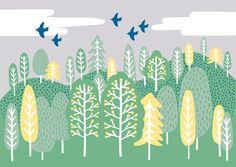【Forest】#illust #testile #design #森 #textile #イラスト #北欧デザイン #北欧イラスト #テキスタイル Scandinavian Design, Scenery, Doodles, Illustration, Pattern, Animals, Decor, Animales, Decoration
