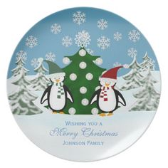 Penguin: Personalized Family: Christmas Plate