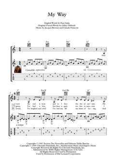 My Way is a song popularized in 1969 by Frank Sinatra. Its lyrics were written by Paul Anka. Here is an arrangement for classical Guitar Solo, with tablature, with downloadable mp3 just for audio help. Tablature has the advantage of a very short learning curve and does not require extensive study to learn while the audio file makes the score interpreting even easier.