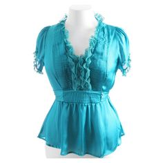 Nice to wear under a jacket or with a skirt.  Plus Size Lace Ruffle Satin Blouse Teal Top ❤ liked on Polyvore