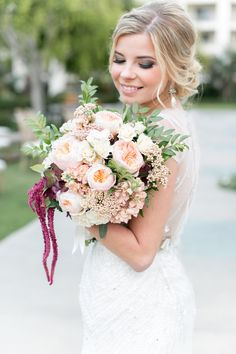 Marsala & blush garden rose bridal bouquet by San Diego wedding florist, Compass Floral.