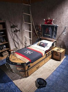 Best Kids Room Ideas Images On Pinterest Pirate Ship Bed - Kids pirate bedroom furniture