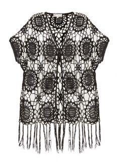 **Voulez Vouz Black Crochet Fringe Kimono