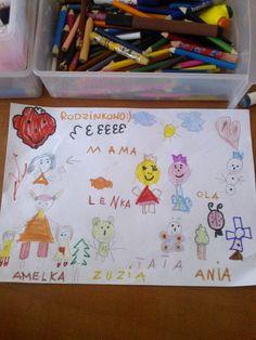 Zuzia 4 latka - na rysunku ona i jej rodzinka