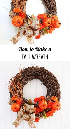 How to Make a Fall Wreath. Use supplies from Dollar Tree and the craft store to make a beautiful fall wreath you can display this fall season. Dollar Store Crafts, Craft Stores, Autumn Crafts, White Home Decor, Fall Diy, Fall Wreaths, Orange Flowers, Diy Wreath, Fall Season