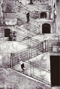 René Burri - Escaliers dans les rues de Leonforte, Sicile, 1956.