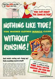 Vintage Tide laundry detergent ads showcasing a look into a Housewife's life Funny Vintage Ads, Vintage Humor, Vintage Posters, Vintage Images, Vintage Signs, Old Advertisements, Retro Advertising, Retro Ads, Tide Laundry Detergent