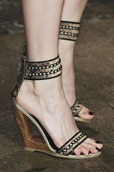 Wedged Donna Karan shoes - all the height without the pain.