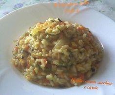 Il risotto con crema di verdure è un delicatissimo risotto assolutamente vegetale, in questo caso con carote e zucchine che si vedono e non si vedono.