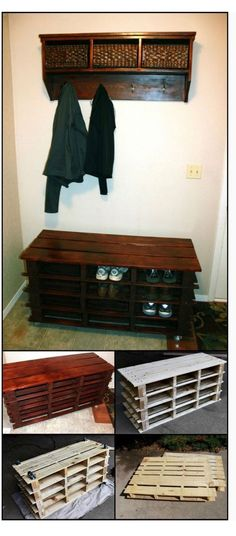 Transcendent Dog House with Recycled Pallets Ideas. Adorable Dog House with Recycled Pallets Ideas. Coat And Shoe Storage, Entryway Shoe Storage, Diy Storage, Entryway Bench, Extra Storage, Storage Ideas, Garage Storage, Diy Bench, Shoe Bench