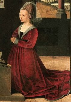 Christus, Portrait of a Female Donor. Woman wearing a hennin with gown with fitted sleeves to the wrist. Gown may also be a roc with pleats in the front and revers Historical Costume, Historical Clothing, Historical Dress, Hennin, Little Girl Quotes, Scarborough Fair, Jan Van Eyck, 15th Century, Fashion Plates