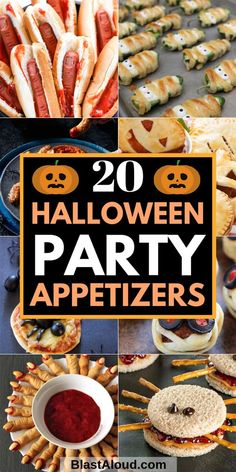 20 Tasty and spooktacular Halloween party appetizers and party finger food for the best Halloween party ever! Impress your guests with these fun, creepy and spooky Halloween party snacks for adults and kids alike! Halloween Snacks, Halloween Fingerfood, Halloween Party Appetizers, Hallowen Food, Fingerfood Party, Halloween Cocktails, Halloween Dinner, Snacks Für Party, Spooky Halloween