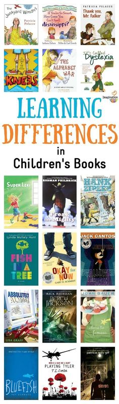 Showing diversity and helping all students find ways to feel confident in their learning. learning differences in children's books help affirm what some kids experience and build empathy in those that don't -- GREAT list of picture books and chapter books Kids Reading, Teaching Reading, Reading Lists, Reading Resources, Teaching Ideas, Library Books, My Books, Library Ideas, Book Suggestions