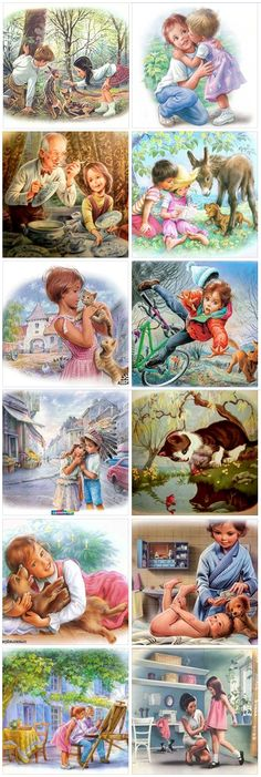 ᐛ ) ଓ Artist Marcel Marlier. Martina and her friends Marcel, Print Pictures, Cute Pictures, Decoupage, Nostalgic Pictures, Vintage Children's Books, Children's Book Illustration, Disney Art, Cute Drawings
