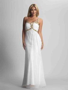 Sheath/ Column Empire One Shoulder Floor Length Chiffon Prom Gowns Big Prom Dresses, Prom Dress 2014, White Bridesmaid Dresses, Designer Prom Dresses, Beautiful Prom Dresses, Prom Dresses Online, Formal Evening Dresses, Nice Dresses, Prom Gowns