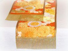 Japanese sash table runner  Vintage Kimono silk dining by SABDECO