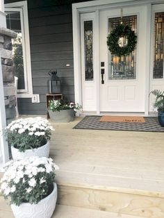 farmhouse front door entrance design ideas tips on selecting your front doors 25 Front Porch Flowers, Front Door Porch, Front Porch Design, Front Door Entrance, Front Doors, Front Stoop Decor, Fromt Porch Decor, Doorway, Farmhouse Front Porches