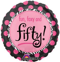 Fun, Foxy & Fifty!   18in. Mylar Balloon available at BalloonWarehouse.com