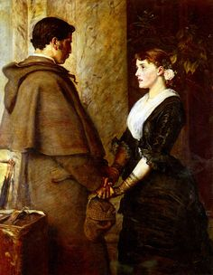 Sir John Everett Millais, Yes. Oil on canvas. Private collection (also In the Victorian era art John Everett Millais, Dante Gabriel Rossetti, William Morris, Pre Raphaelite Brotherhood, Edward Burne Jones, Art Ancien, John William Waterhouse, Victorian Art, Boyfriends