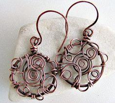 swirled copper wire earrings