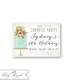 Womens SURPRISE 80th Birthday Invitations Mint And Gold Surprise Party Invites Adult Printable Or Printed