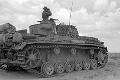 German tank Pz.Kpfw. III Ausf.G from the 15th Panzer Division of the Wehrmacht in the desert.