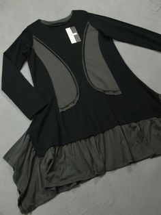 Hebbeding - Lagenlook TUNIKA KLEID ANEKA - schwarz / grau | eBay