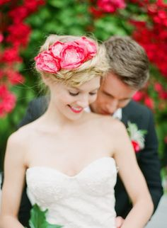 braids + pink flower accessory // Rue Magazine Summer Wedding Inspiration