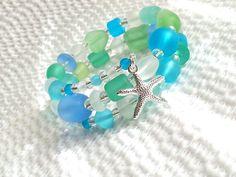Starfish seaglass beads bracelets beach weddings by beachseacrafts, $21.50