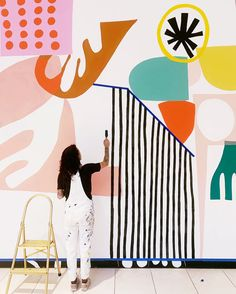 *WEBSITE* full of inspo: Murals — Ashley Mary Trees matter to the look of your home. Room Deco, Mural Wall Art, Wall Design, Design Design, Art Projects, Street Art, Prints, Geometric Art, Abstract Shapes